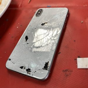 image showing iPhone XS Max with cracked Backglass