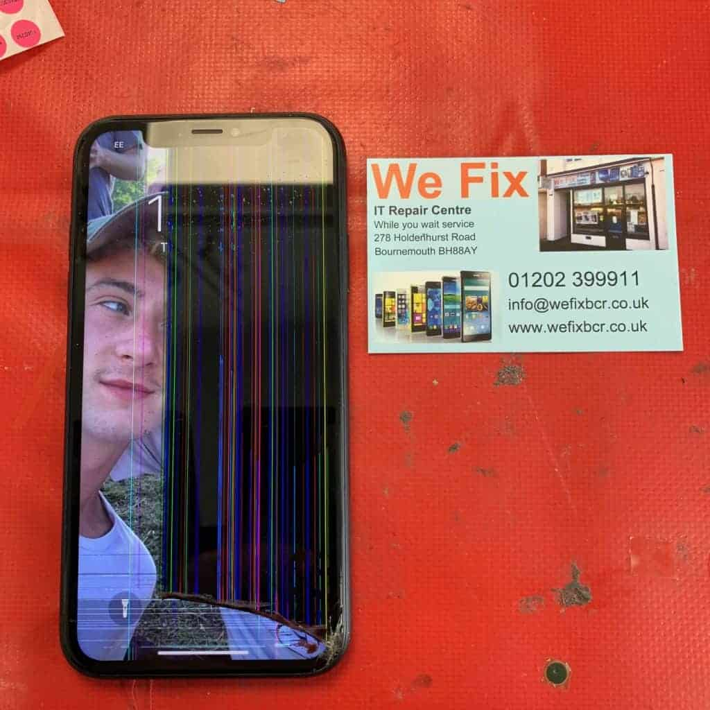 image showing an iPhone XR with a cracked screen