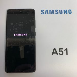 image of a Samsung A51 with a cracked display