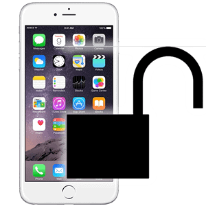 image of an iphone with an unlocked padlock